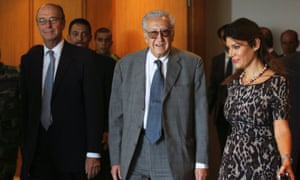 UN-Arab League peace envoy for Syria Lakhdar Brahimi is welcomed at Beirut international airport October on Wednesday.