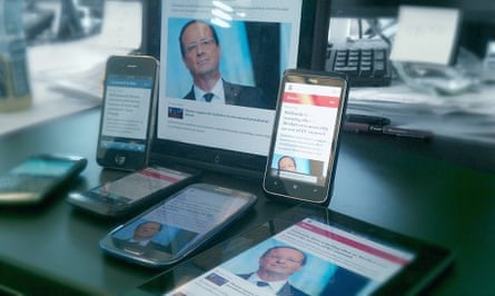 Responsive design: the same Guardian webpage, rendered on multiple devices