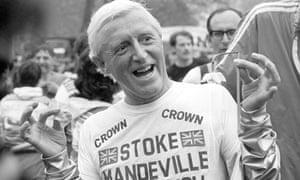 Jimmy Savile wearing a Stoke Mandeville hospital T-shirt