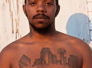 Big Picture: Dallas: Young man with skyline tattooed on his chest