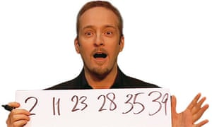 Derren Brown predicting the lottery numbers on live TV