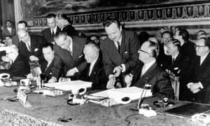 The German delegation sign the 'Treaty Of Rome'