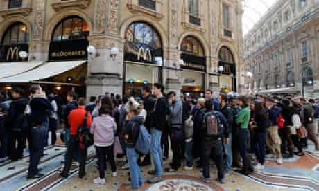 Queues outside McDonald's in Milan