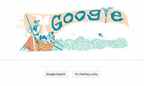 Google doodle celebrating Herman Melville's novel Moby Dick