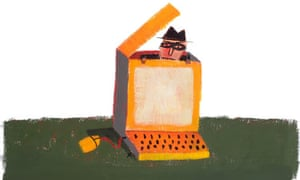Masked Man Hiding Inside Computer