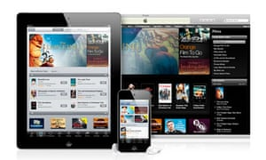 Apple's iTunes homepage on computer, iPad and iPhone screens