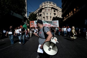 Greece protests: Demonstrators march during a 24 hour strike