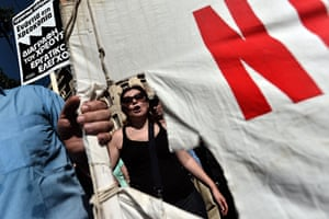 Greece protests: Demonstrators shout slogans during a 24 hour strike
