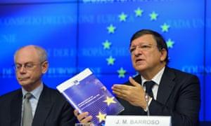 European Council President Herman Van Rompuy (L) and European Commission President Jose Manuel Barroso