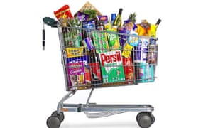 A supermarket trolley full of groceries