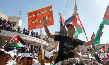 Jordanians call for constitutional reform during a demonstration in Amman earlier this month