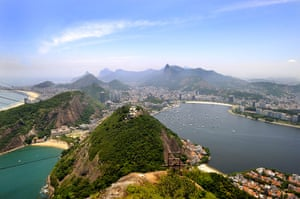 Bond locations: View from Sugarloaf Mountain over Rio de Janeiro, Brazil