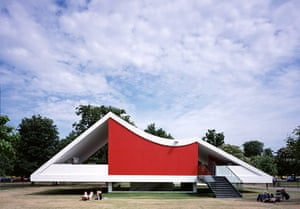Oscar Niemeyer: Rear Elevation with Red Wall and Steps