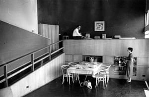 Oscar Niemeyer: Niemeyer seen here in the dining room of his Rio home with his wife