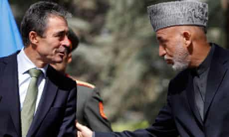 Anders Fogh Rasmussen and Hamid Karzai in Kabul