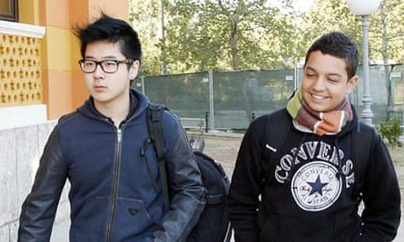 Kim Han-sol (left) at the United World College in Bosnia