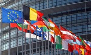 EU flags outside the European Parliament building