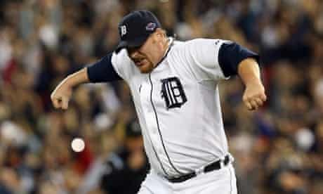 Phil Coke of Detroit Tigers celebrates going to the World Series