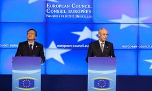 European Council President Herman Van Rompuy, right, and European Commission President Jose Manuel Barroso