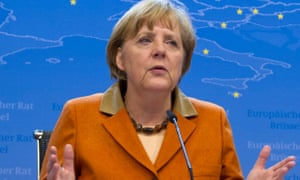 German Chancellor Angela Merkel speaks during a media conference at an EU summit in Brussels on Friday, Oct. 19, 2012.