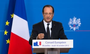 French President Francois Hollande is talking to media at the end of the first day of an EU Chief of state summit in the EU headquarter.