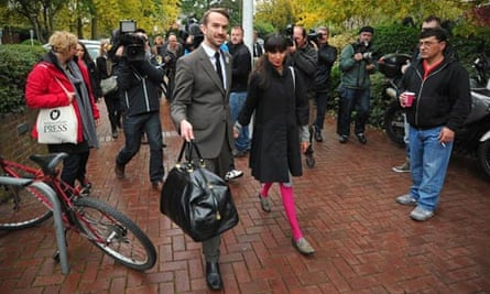 Trenton Oldfield arrives with his partner, Deepa Naik, at Isleworth crown court for sentencing