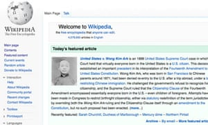 Wikipedia front page, 19 October 2012