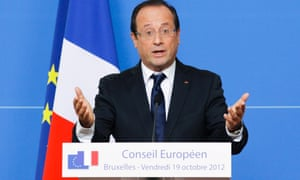 French President Francois Hollande addresses a news conference at the end of the European Council Summit in Brussels, Belgium, 19 October 2012