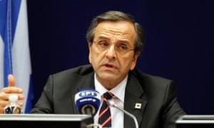 Greek Prime Minister Antonis Samaras speaks during a media conference at an EU summit in Brussels on Friday, Oct. 19, 2012.
