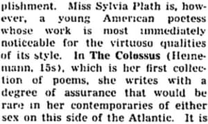 Sylvia Plath - reviews from the archive | From the Guardian