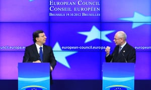 European Commission President Jose Manuel Barroso and European Council President Herman Van Rompuy (R) hold a news conference at the end of a European Union leaders summit in Brussels October 19, 2012.