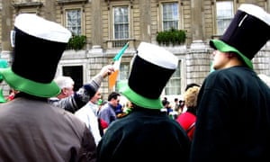 Guinness hats on St Patrick's Day in London