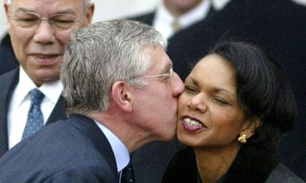 Jack Straw giving Condoleezza Rice a kiss