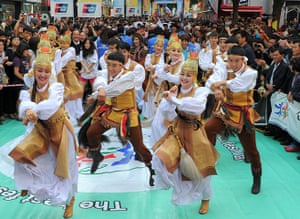 Gangnam style parade: A dance troupe from the Republic of Sakha, Russia, performs