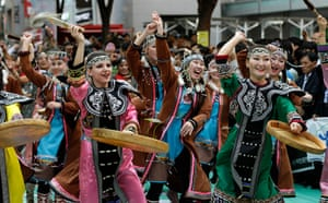 Gangnam style parade: Participants from Russia dance