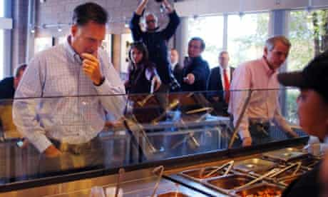 Decisive moment: Republican presidential candidate and former Massachusetts Governor Mitt Romney and U.S. Senator Rob Portman (R-OH) (R) ponders food order at a Chipotle Restaurant in Denver ahead of his first debate with U.S. President Barack Obama.
