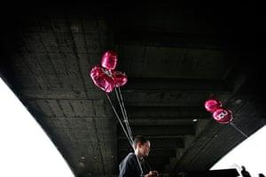 TUC march: Under Waterloo Bridge