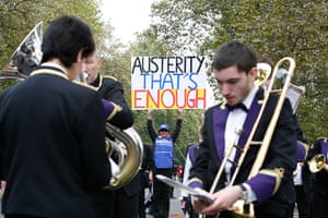 TUC march: Brass band