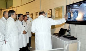 The Iranian president, Mahmoud Ahmadinejad, visits Tehran's nuclear reactor research centre