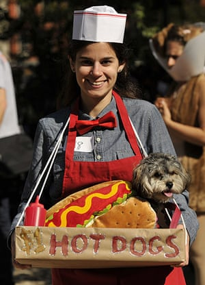 Dog parade: Stacey Surman and Butter the hotdog