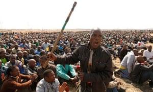 A striking miner in Rustenburg, South Africa