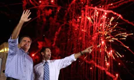 Mitt Romney and Paul Ryan attend a rally in Daytona Beach, Florida