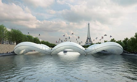 Inflatable bridge spanning the river Seine