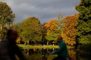 Autumn colours: Autumn leaves in the trees in Vondelpark in Amsterdam, Netherlands