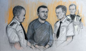 A sketch by court artist Elizabeth Cook of Matthew Tvrdon, 31, in the dock at Cardiff magistrates court, where he was accused of murder and 13 counts of attempted murder in the city