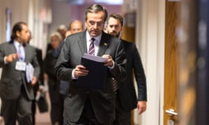 Greek Prime Minister Antonis Samaras is talking to media after a two days EU Chief of State Summit in the EU Council headquarter.