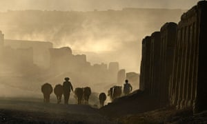 An Afghan Hazara shepherd walks with his flock in Bamiyan, some 120 miles north-west of Kabul, on 21 October 2012.