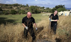 British police investigating the disappearance of Ben Needham on the land close to where he went missing 21 years ago, on the island of Kos, in Greece. The British are deciding whether a plot should be dug up.