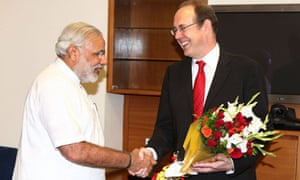British high commissioner James Bevan with Indian Gujarat state chief minister Narendra Modi