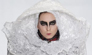 A model wears a creation by Russian designer Prokhorova at the Mercedes-Benz fashion week in Moscow.